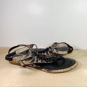 Snakeskin Print Ankle Strap Damast Sandals Chain